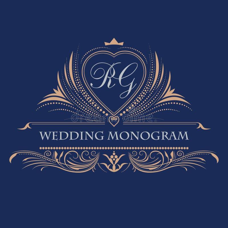 Monograma do casamento do vetor Quadro decorativo luxuoso Convite do casamento Linhas elegantes de ornamento caligráfico ilustração stock