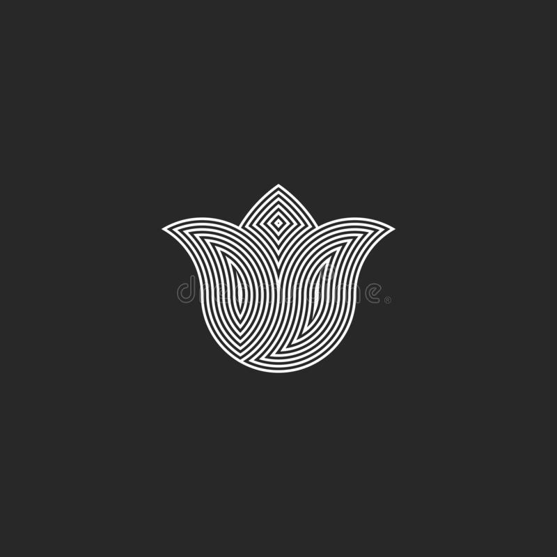 Monograma do logotipo da flor da tulipa, emblema gráfico da harmonia esotérico sagrado da geometria, sinal do buddhism da energia ilustração stock
