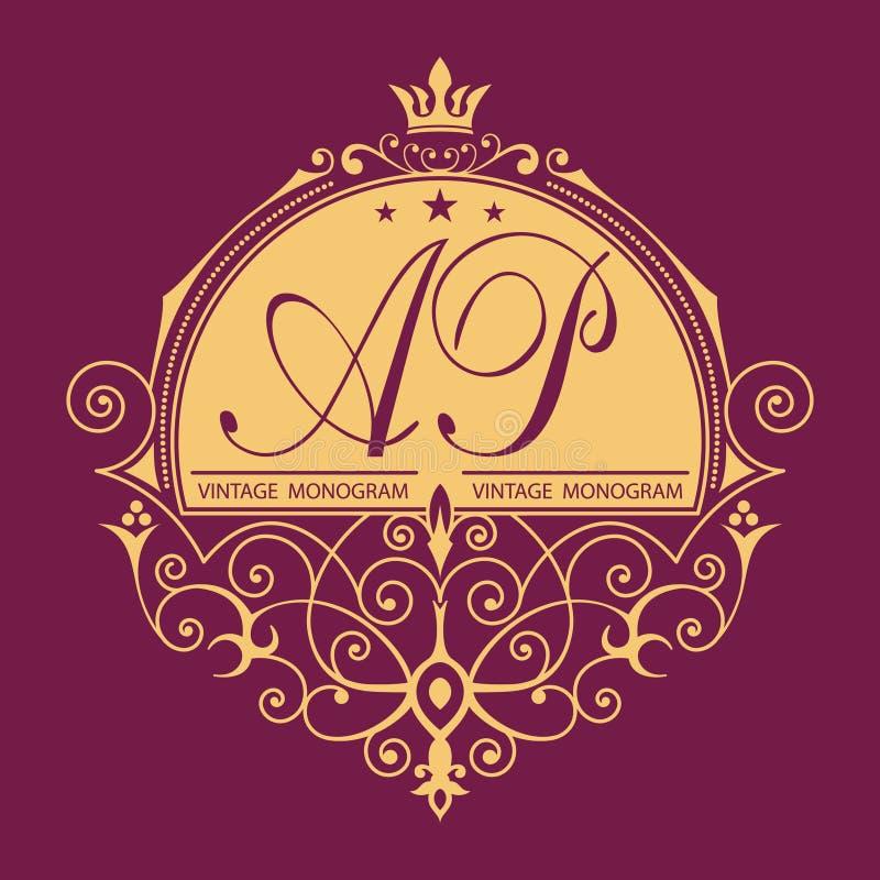 Monograma do vetor do vintage Logotipo elegante do emblema para restaurantes, hotéis, barras e boutiques Pode ser usado para proj ilustração royalty free