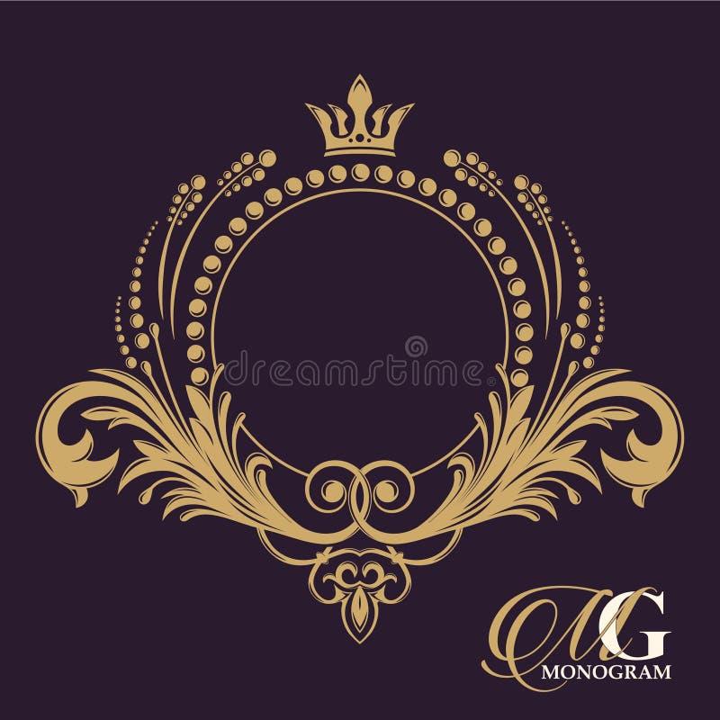 Monograma dourado do vetor Floresce elementos elegantes caligráficos do vintage O passado ilustração do vetor