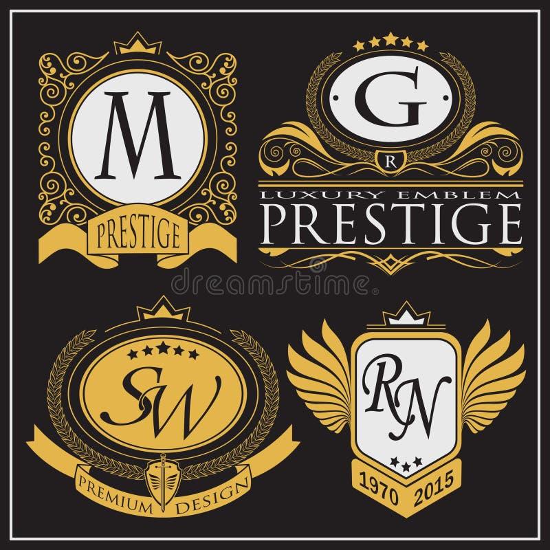 Monograma dourado do vetor Quadro decorativo luxuoso Convite do casamento Linhas elegantes de ornamento caligráfico Fundo escuro  ilustração do vetor