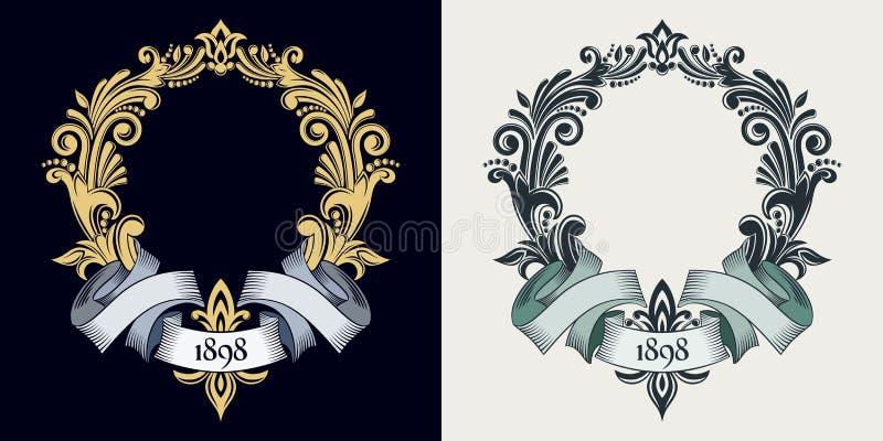 Monograma e iniciais do vetor Quadro decorativo dourado Fita retro Convite do casamento Linhas elegantes de ornamento caligráfico ilustração do vetor