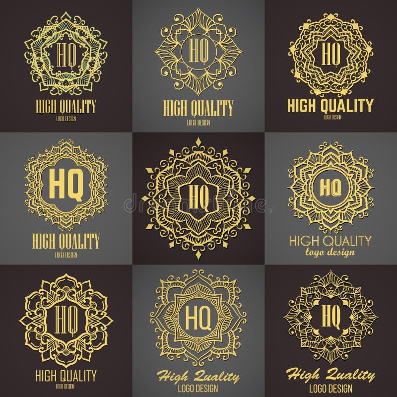 Monograma elegante dourado Projeto do molde para o monograma, etiqueta, logotipo, emblema ilustração royalty free