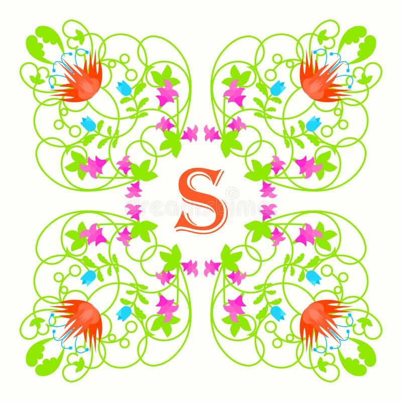 Monograma floral con la letra s en blanco Verde ilustración del vector