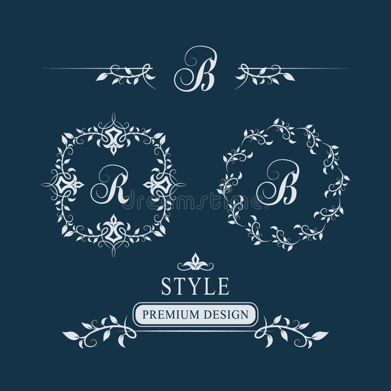 Monograma floral decorativo do vintage Grupo de Logo Templates caligráfico Sinal R do emblema da letra, B Página do projeto Quadr ilustração do vetor