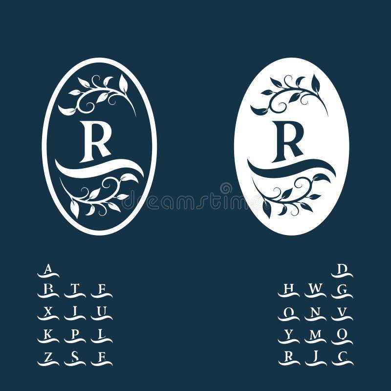 Monograma floral decorativo do vintage Logo Templates caligráfico Letras na onda Sinal R do emblema Página do projeto Luxo gráfic ilustração stock
