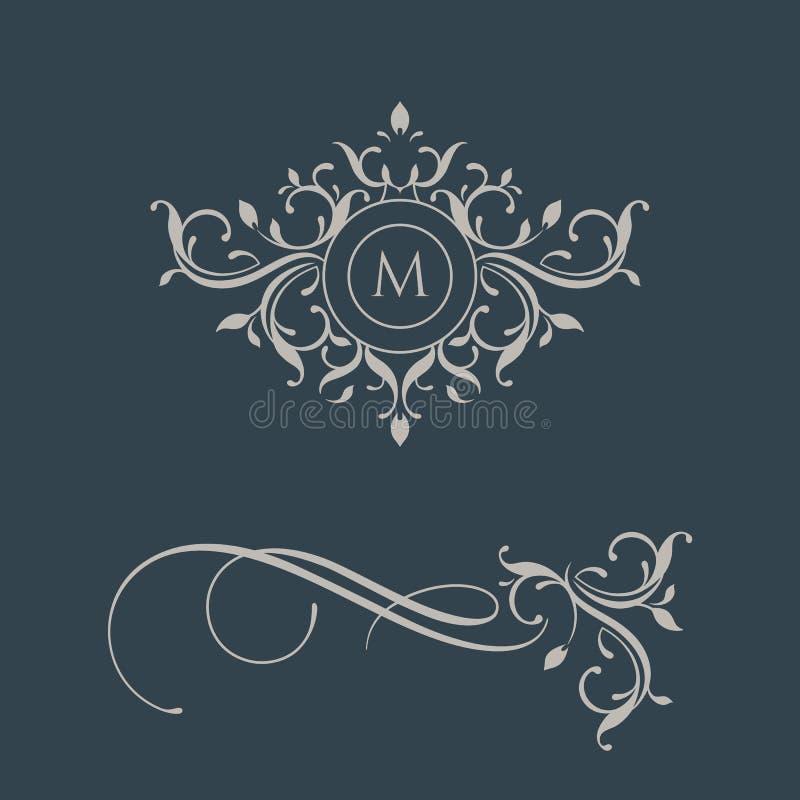Monograma floral e beira Elementos lassical do ¡ de Ð ilustração stock