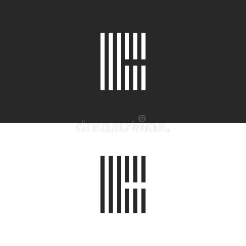 Monograma inicial do logotipo da letra C do moderno, emblemas ajustados preto e branco para o cartão, linhas forma listrada da pa ilustração stock