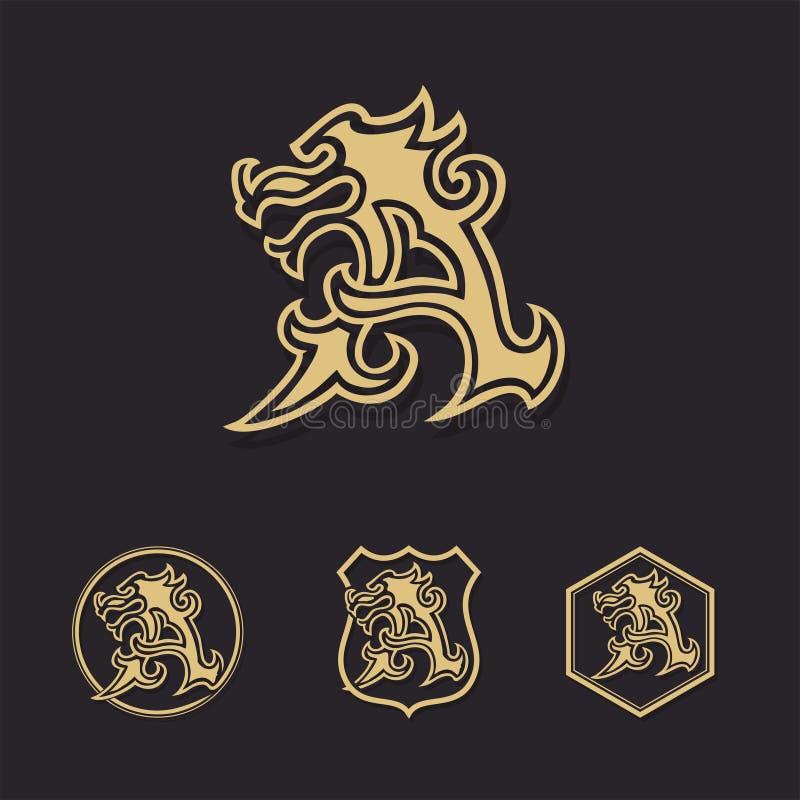 MONOGRAMA list smok chrzcielnicy logo wektorowy znak ilustracji