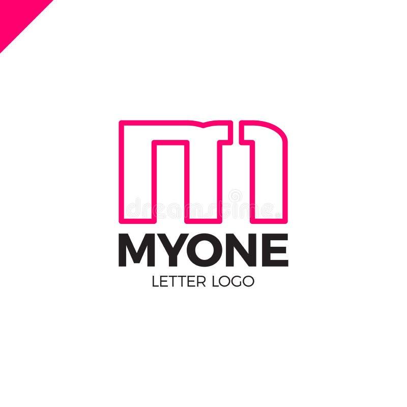 Monograma mínimo inusual M y 1 Plantilla del logotipo del negocio libre illustration