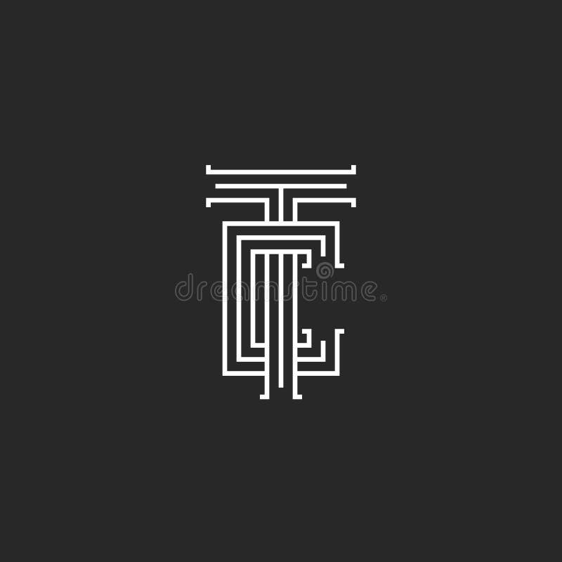 Monograma medieval del logotipo de las letras del TC, líneas símbolo linear del paralelo del CT del arte, dos letras T y marcas d stock de ilustración