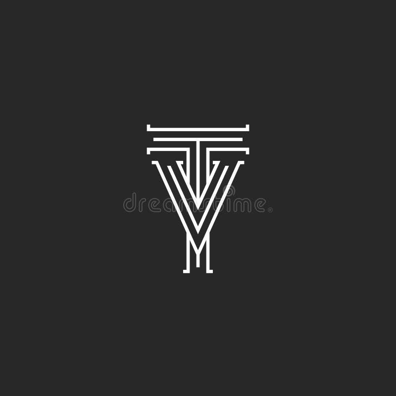 Monograma medieval do logotipo das letras da tevê, linhas finas preto e branco VT retro das iniciais do vintage da combinação do  ilustração do vetor