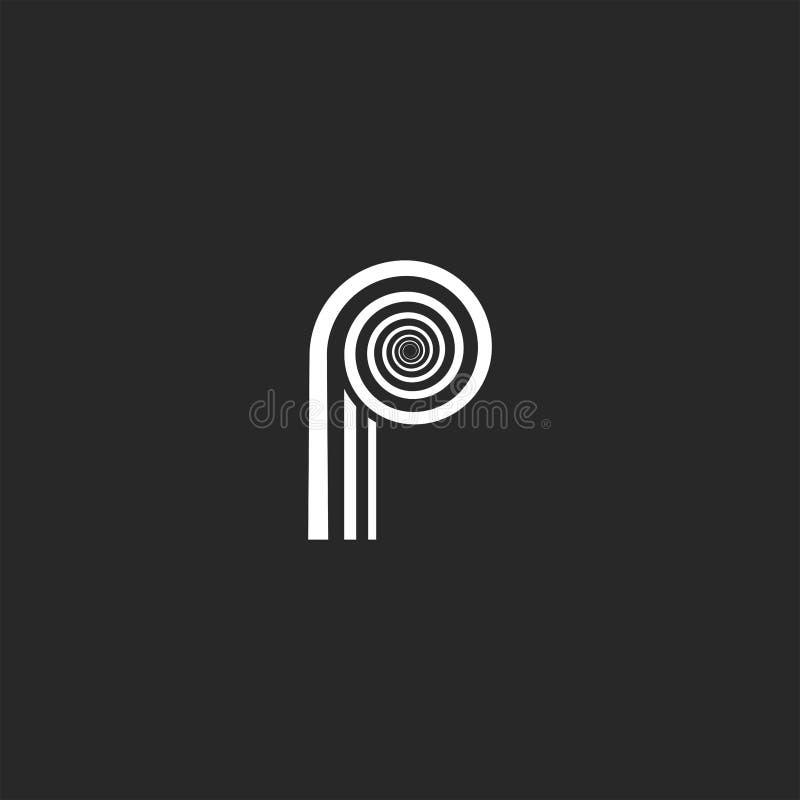 Monograma moderno creativo de la letra P del logotipo de la forma geométrica espiral stock de ilustración