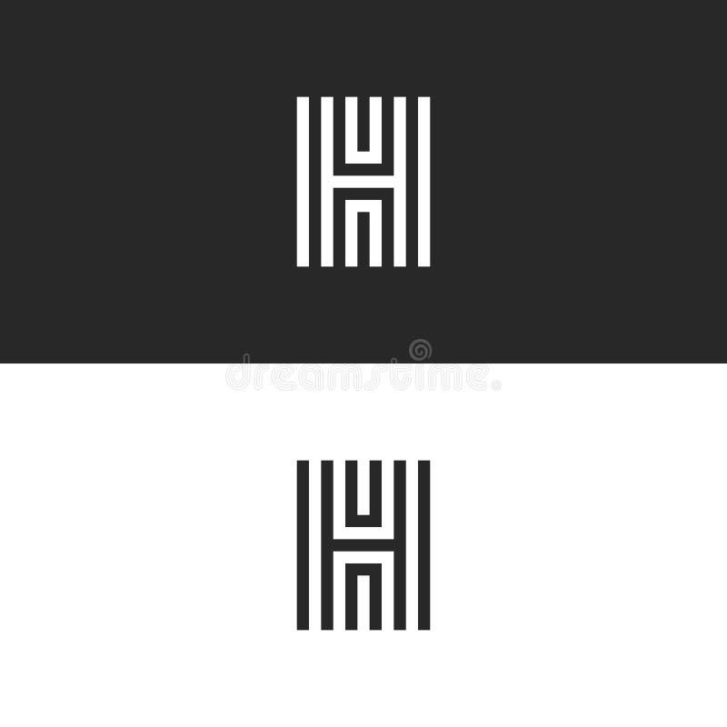 Monograma moderno de la letra del logotipo H, líneas elemento para la tipografía, emblema linear del paralelo del diseño simple stock de ilustración