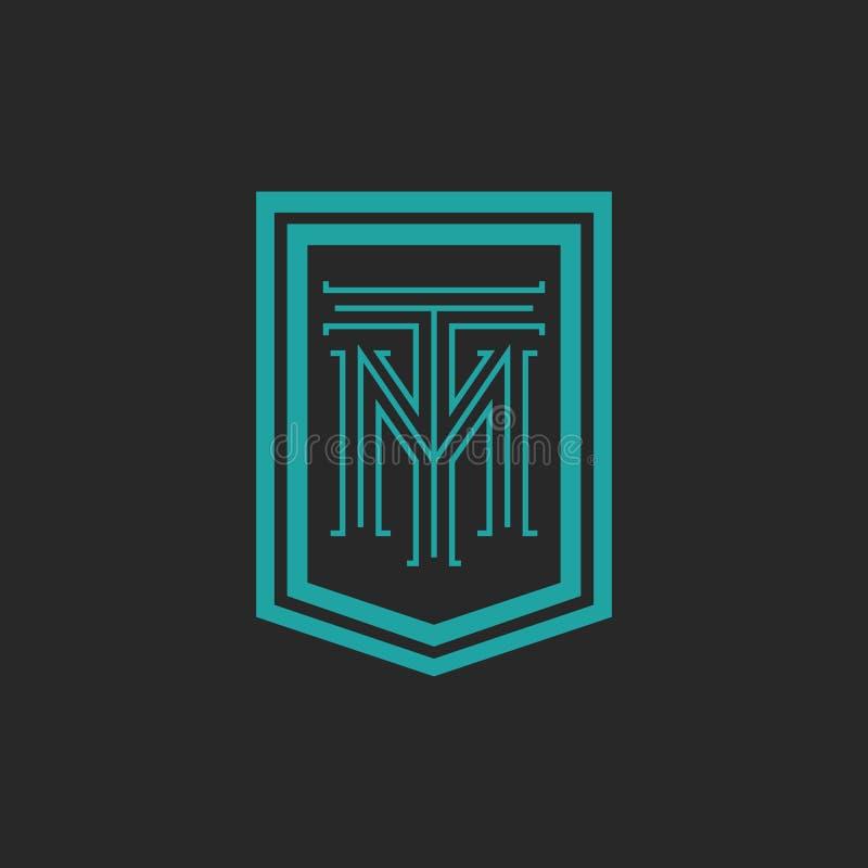 Monograma modnisia ramy formy osłona, grzebienia kombinacja listu TM logo, błękitny i czarny, T M parafujemy mockup emblemata wiz ilustracji