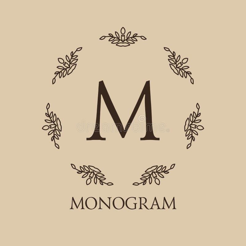 Monograma monocromático do luxo, o simples e o elegante ilustração royalty free