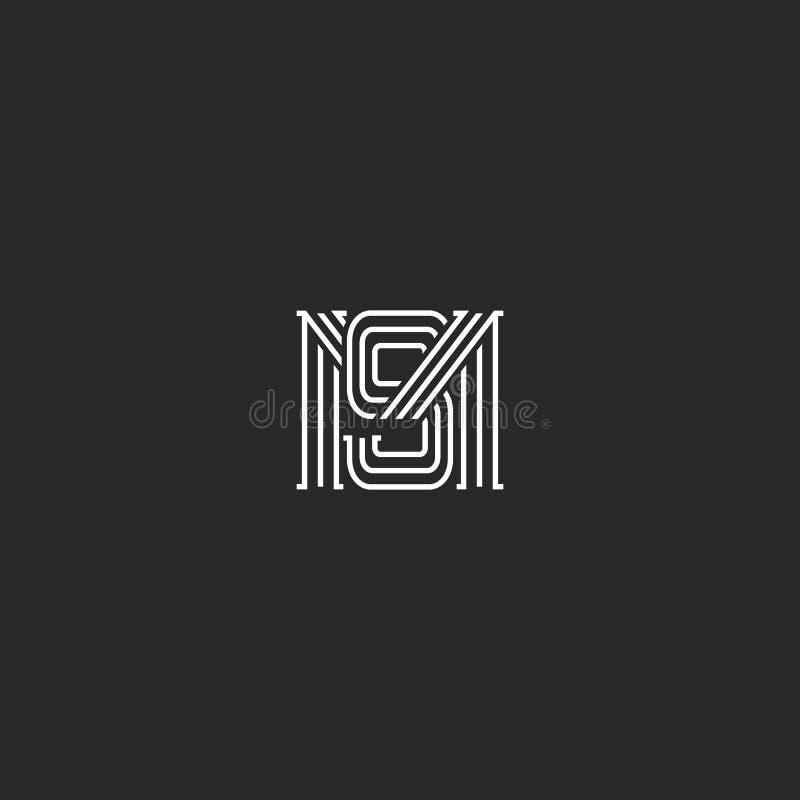Monograma MS listów logo pokrywa się linia modnisia typografii projekta prostego element, kombinację M i S inicjały, poślubiać royalty ilustracja