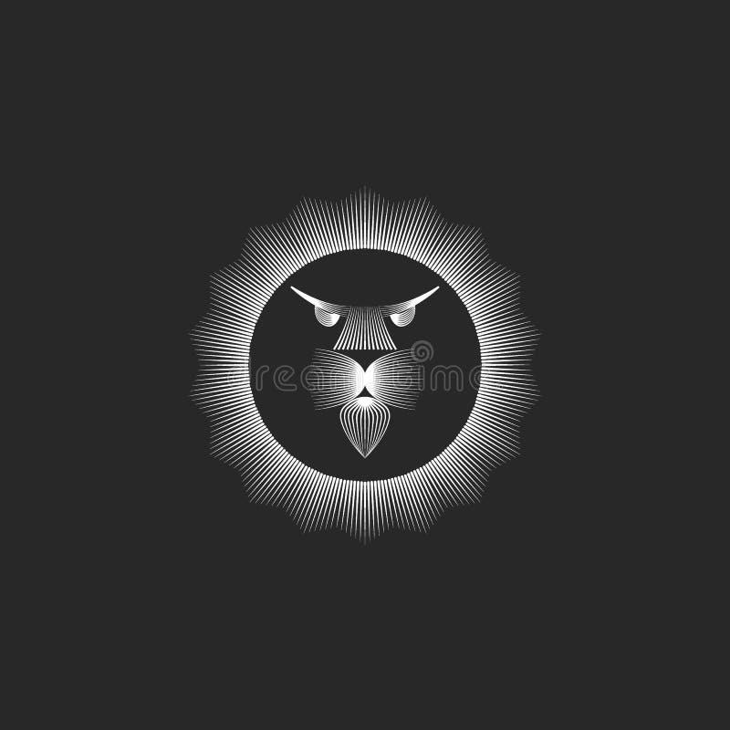Monograma principal del logotipo del león en las líneas estilo minimalista del arte, melena despredadora bajo la forma de marco r ilustración del vector
