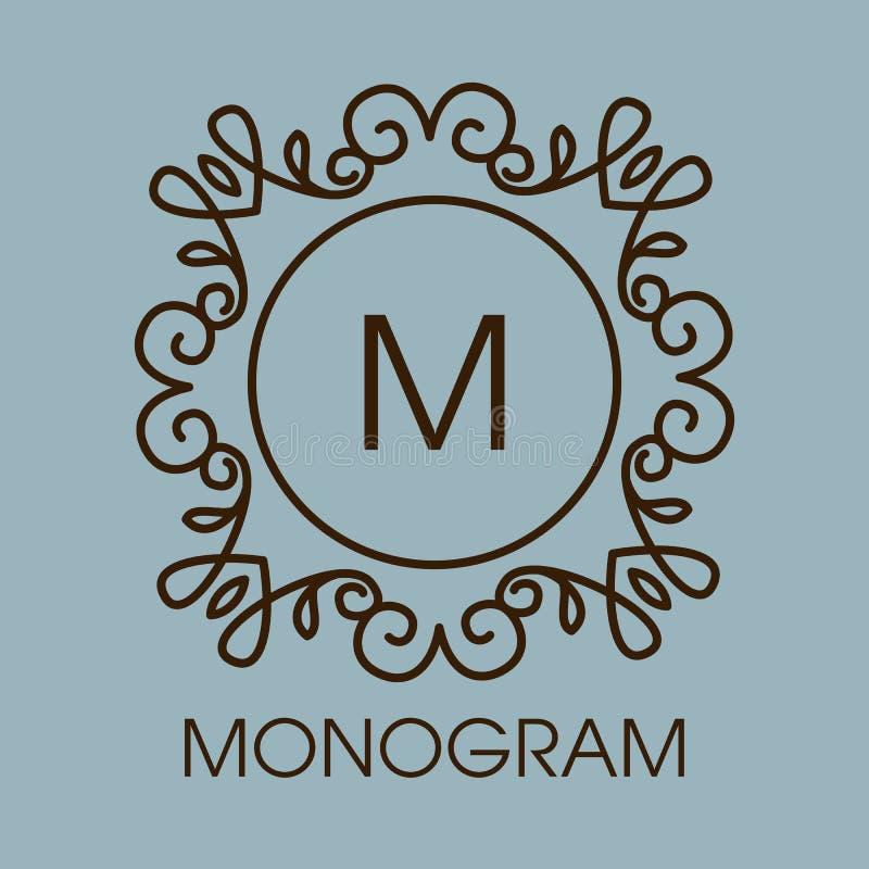 Monograma projekt Wektorowa kwiecista kontur rama lub royalty ilustracja