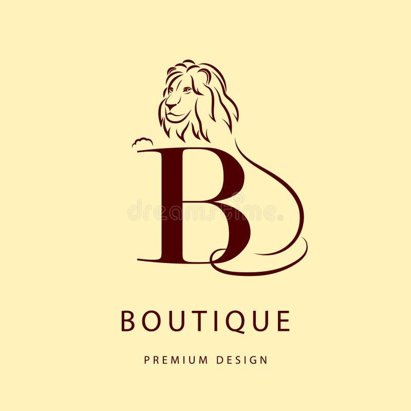 Monograma projekta elementy, pełen wdzięku szablon Elegancki kreskowej sztuki loga projekt Listowy b emblemat Lwa sylwetki… klame ilustracja wektor