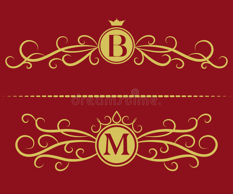 Monograma projekta elementy, pełen wdzięku szablon Elegancki kreskowej sztuki loga projekt Listowy b, M Biznesu znak, tożsamość d ilustracji