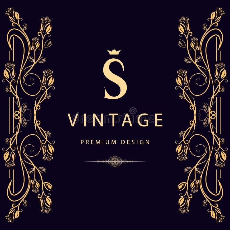 Monograma projekta elementy, pełen wdzięku szablon Elegancki kreskowej sztuki loga projekt literę s Biznesu znak, tożsamość dla r ilustracji