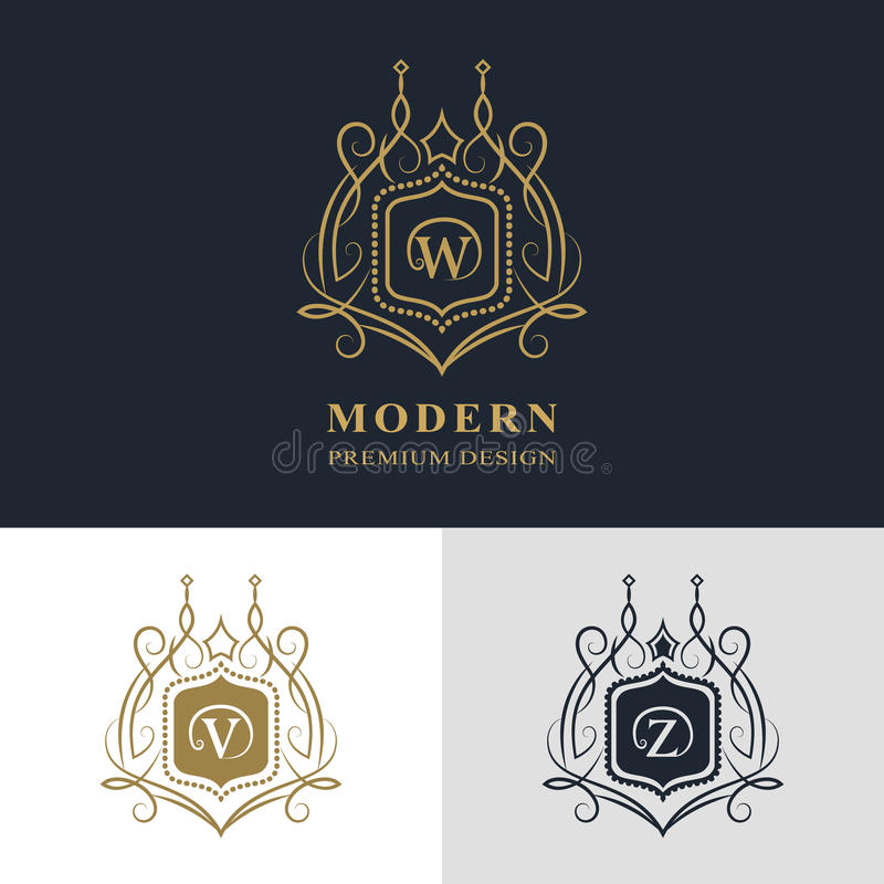 Monograma projekta elementy, pełen wdzięku szablon Kaligraficzny elegancki kreskowej sztuki loga projekt Listowy emblemata znak W ilustracji