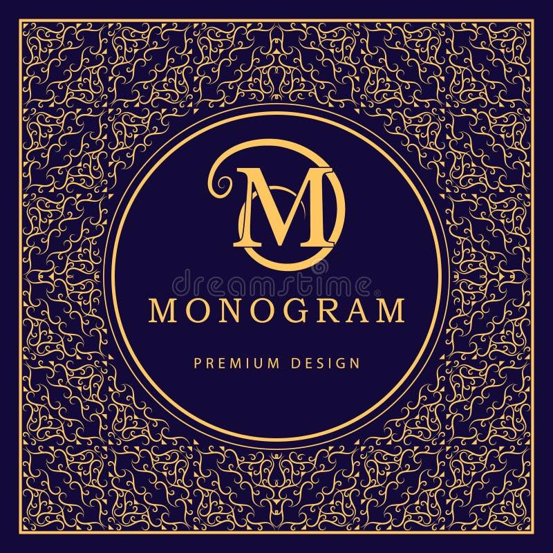 Monograma projekta elementy, pełen wdzięku szablon Kaligraficzny elegancki kreskowej sztuki loga projekt literę m Abstrakcjonisty royalty ilustracja