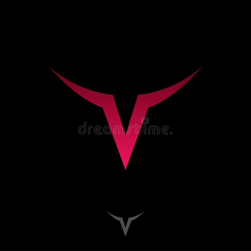 Monograma v Logotipo da letra V Letra vermelha V como a cabeça de um touro com chifres ilustração royalty free