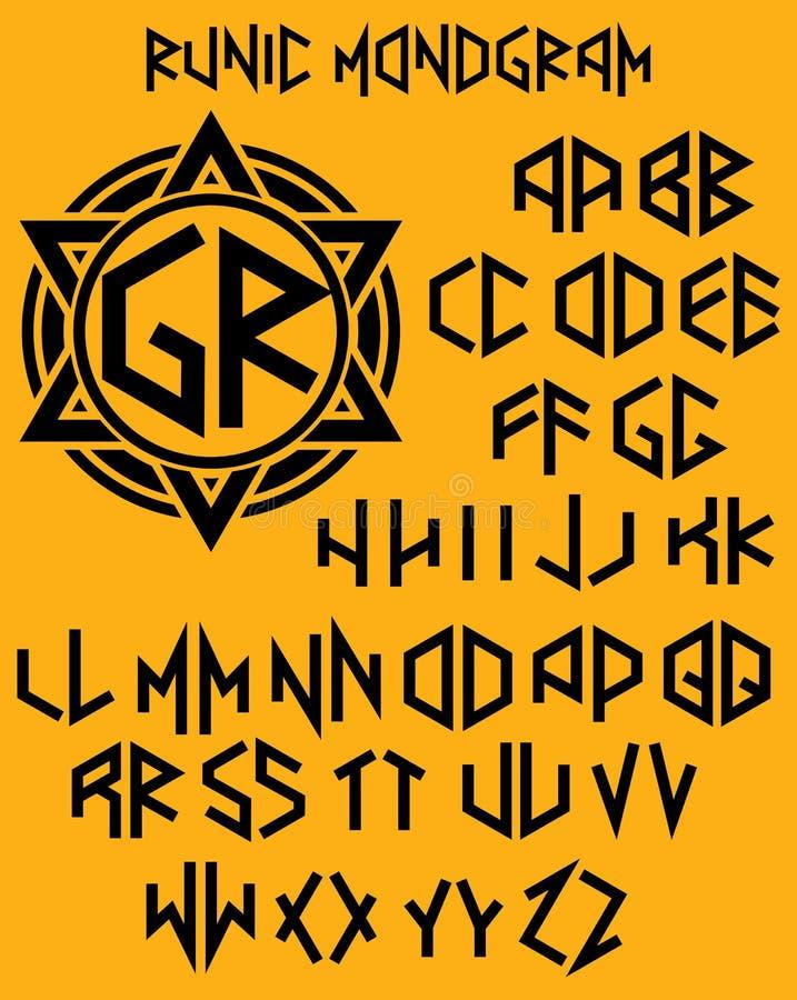 Monograma wzór z setem dwuboczni listy w runicznym stylu ilustracja wektor