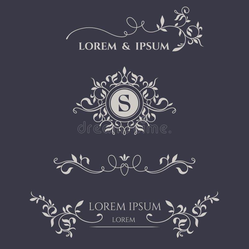 Monograma y fronteras florales stock de ilustración