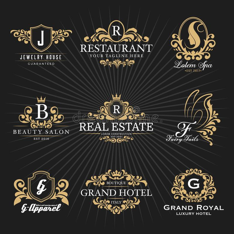 Monograma y marco heráldicos reales Logo Decorative Design del vintage stock de ilustración