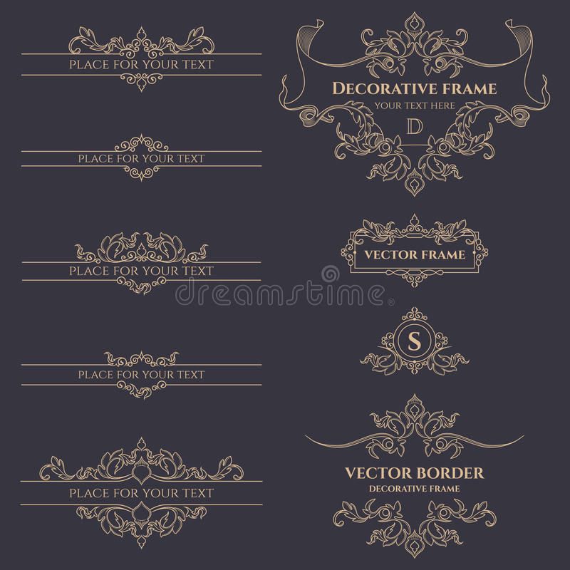 Monogramas, beiras e quadros clássicos ilustração do vetor