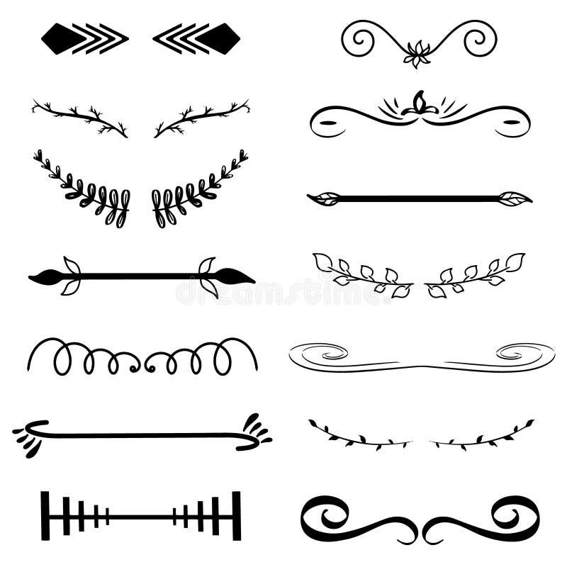 Monogramas decorativos del vector y fronteras caligráficas Señalización de la plantilla, logotipo, etiqueta, etiqueta engomada El libre illustration