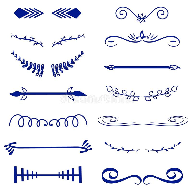 Monogramas decorativos do vetor azul e beiras caligráficas Signage do molde, logotipo, etiqueta, etiqueta Casamento clássico do e ilustração stock