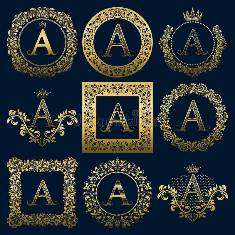 Monogramas do vintage ajustados da letra de A Logotipos heráldicos dourados nas grinaldas, circularmente e em quadros quadrados ilustração do vetor