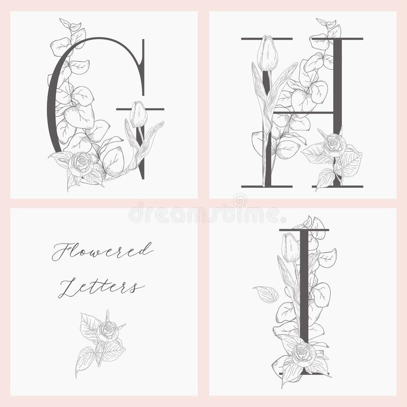 Monogramas e logotipos elegantes florais de floresc?ncia do vetor ilustração do vetor