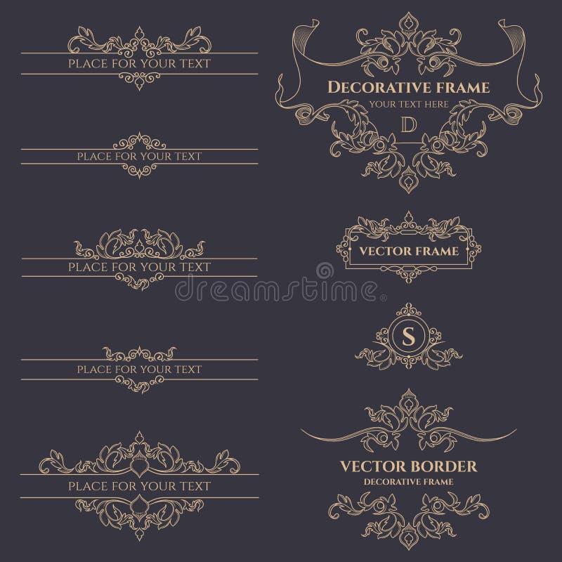 Monogramas, fronteras y marcos clásicos ilustración del vector