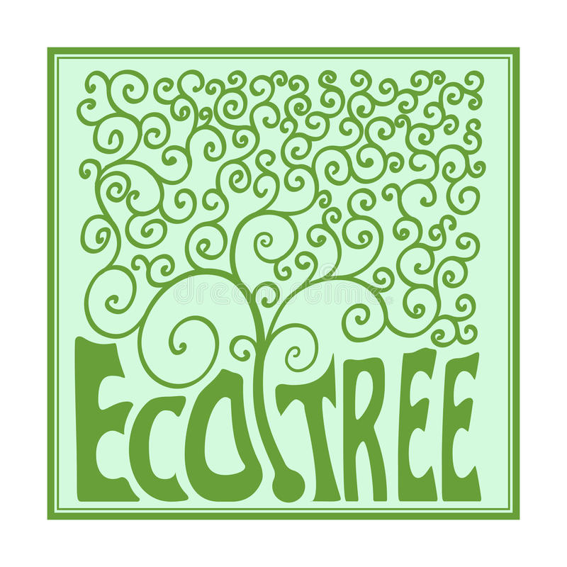 Monogramboom met krullen, overzichtsembleem, het malplaatje van het ecologieconcept Embleem organisch Ontwerp vector illustratie