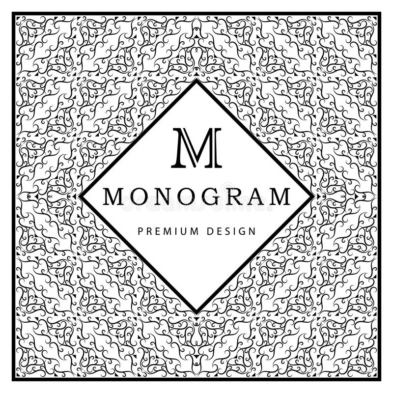 Monogramdesignbeståndsdelar, behagfull mall stock illustrationer