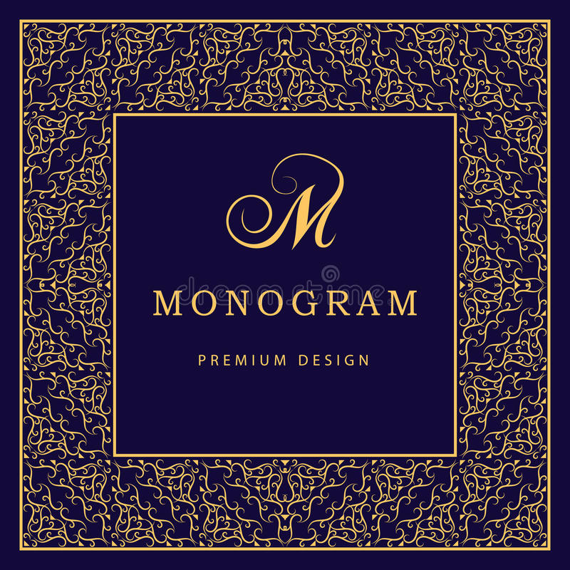 Monogramdesignbeståndsdelar, behagfull mall Calligraphic elegant linje konstlogodesign bokstav M Abstrakt dekorativ bakgrund w vektor illustrationer