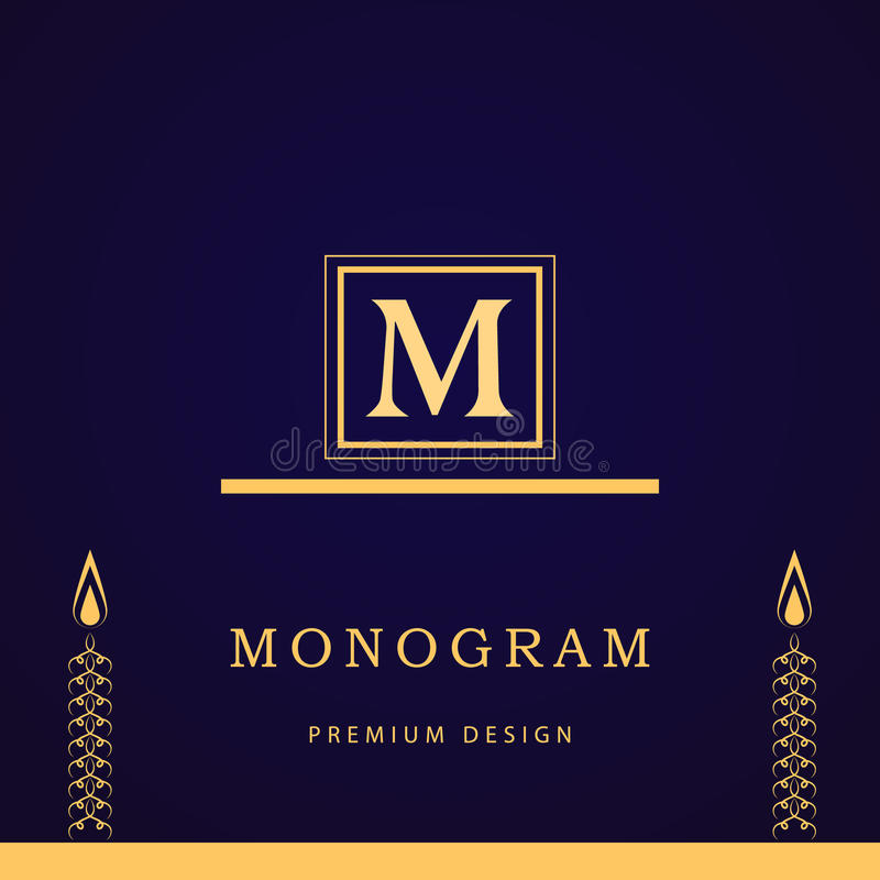 Monogramdesignbeståndsdelar, behagfull mall Calligraphic elegant linje konstlogodesign bokstav M Affärstecken för royalty, Bouti vektor illustrationer