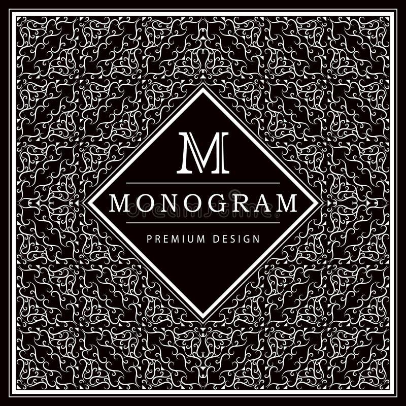 Monogramdesignbeståndsdelar, behagfull mall Calligraphic elegant linje konstlogodesign bokstav M Svartvit abstrakt decorat stock illustrationer
