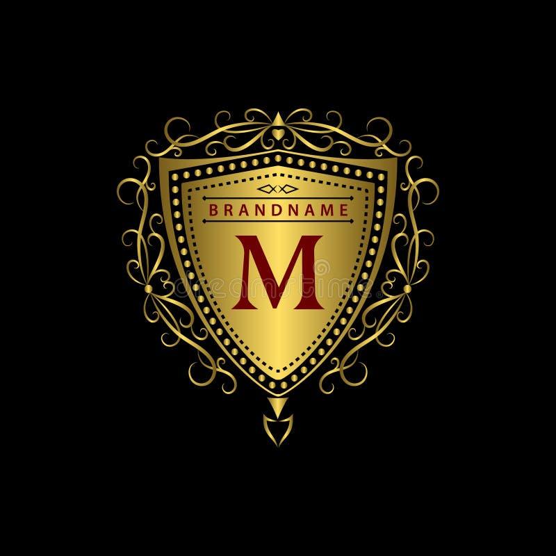 Monogramdesignbeståndsdelar, behagfull mall Calligraphic elegant linje konstlogodesign Guld- bokstav M Affärstecken för royalty, royaltyfri illustrationer