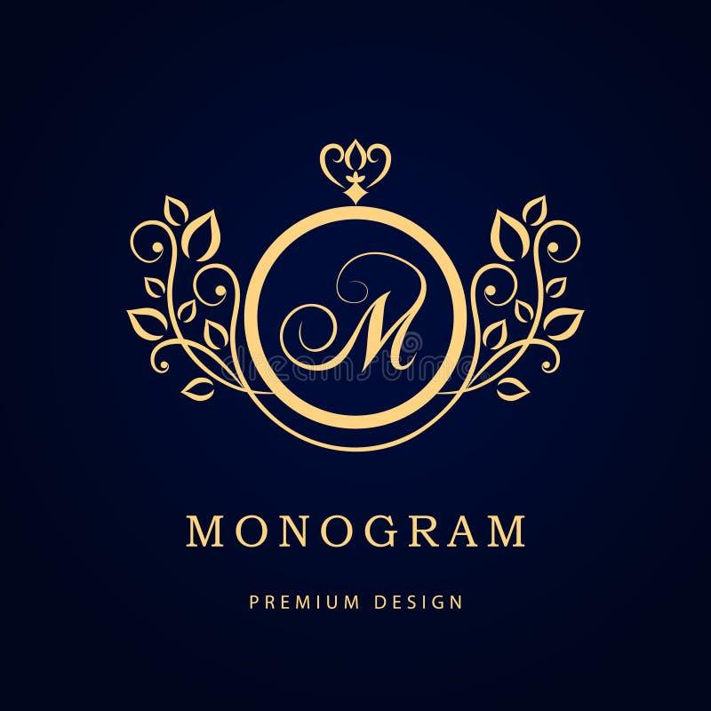 Monogramdesignbeståndsdelar, behagfull mall Elegant linje konstlogodesign Affärstecken, identitet för restaurangen, royalty, Bout royaltyfri illustrationer
