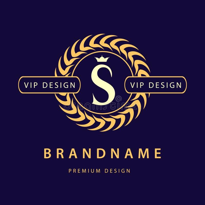 Monogramdesignbeståndsdelar, behagfull mall Elegant linje konstlogodesign bokstav s Retro tappninggradbeteckning eller logotyp Af vektor illustrationer
