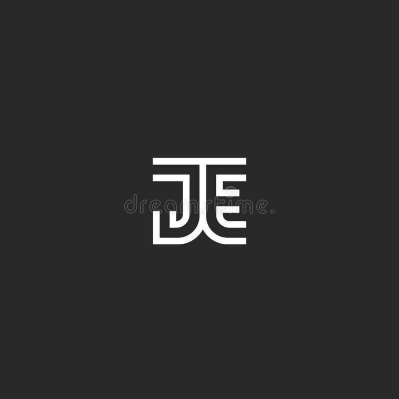 Monograminitialer JE eller minimalist stil för EJ-logobokstäver, idérikt designidentitetsemblem två anknöt kortet för bokstäver J vektor illustrationer