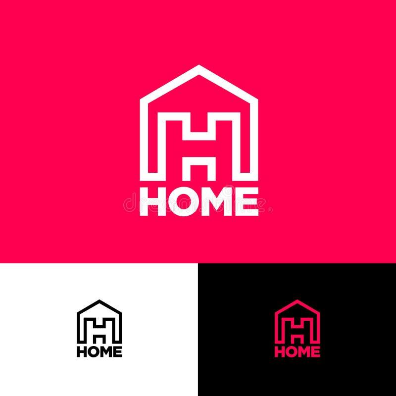 Monogramma della lettera di H La lettera H dentro il simbolo della Camera Casa, Camera, logo di Real Estate illustrazione vettoriale