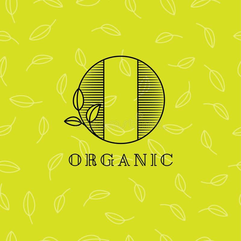 Monogramma della lettera della O Emblema organico del pasto o del cosmetico Segni la O con lettere con le foglie su un fondo legg royalty illustrazione gratis
