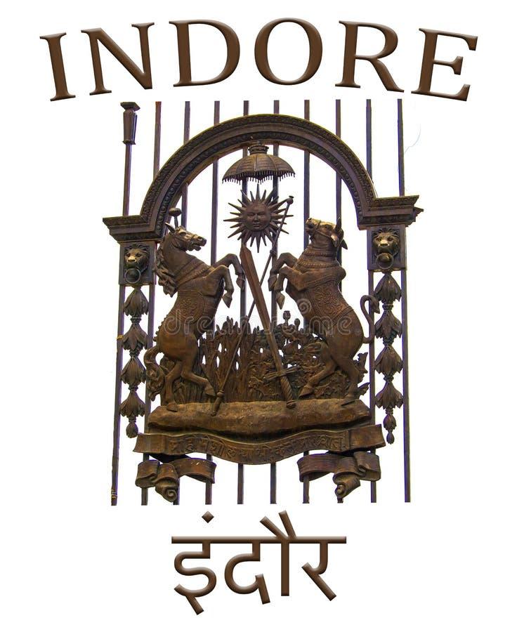 Monogramma della stemma di Indore Holkar fotografia stock libera da diritti
